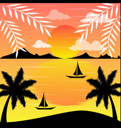 Sunset lanscape with the beach in summer vector