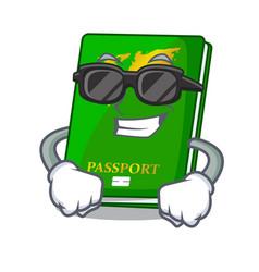 Super cool green passport in the cartoon shape vector