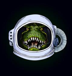 T-rex head in space helmet on black bg vector