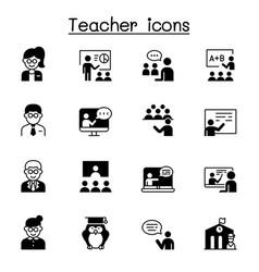 Teacher icons set graphic design vector