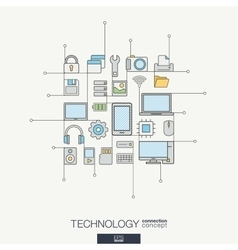 Technology integrated thin line symbols Modern vector image