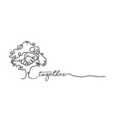 Together concept of single line hand tree banner vector