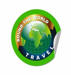 Travel Round the World Symbol with Green Earth vector image