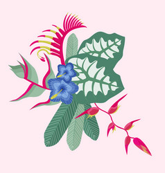 tropical flowers and leaves bouquet vector image