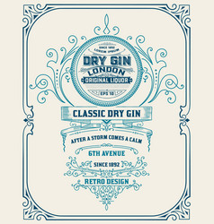 Vertical gin label with floral frame vector