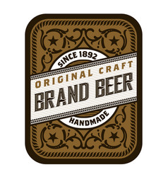 Vintage beer label design template with hops vector