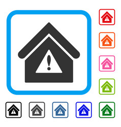 Warning building framed icon vector