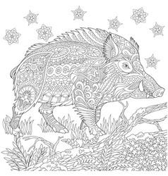 Wild boar adult coloring page vector