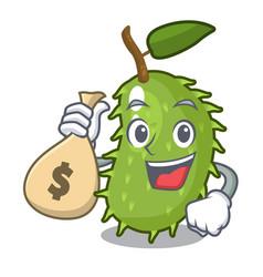 With money bag cartoon soursop fruit in the market vector