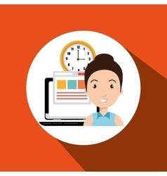 woman and computer isolated icon design vector image