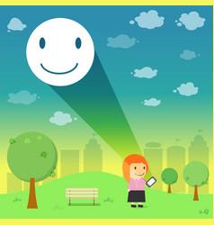Women through the emotional smile resonance on vector