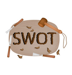Wooden plank carving the swot analysis strategy ma vector