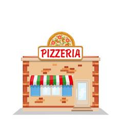 cartoon pizzeria flat vector image vector image
