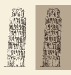 Leaning Tower of Pisa and Cathedral Italy vector image
