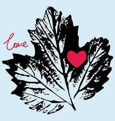 prints black leaf on a blue background love vector image vector image