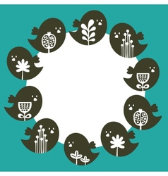 Round banner with birds in Scandinavian style vector image