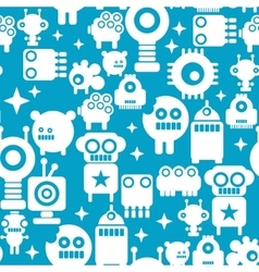 Seamless pattern with white silhouettes of robots vector image vector image