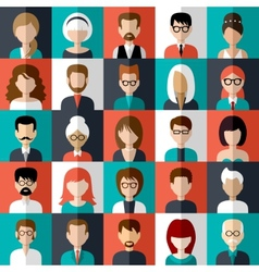 Set of flat icons with people vector image vector image