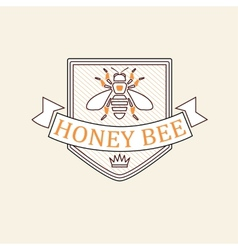 set of honey and bees labels badges vector image vector image
