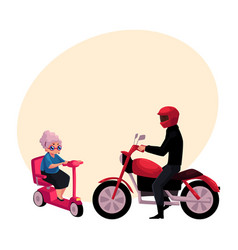 Young man riding motorcycle and old woman driving vector