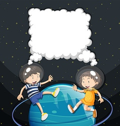 Boy and girl floating in the space vector image vector image