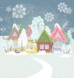 Cute winter cityscape vector image