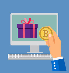 online shopping with bitcoin vector image vector image