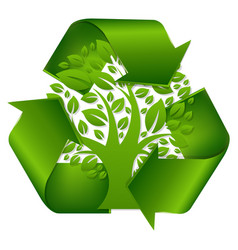 recycle symbol with tree vector image