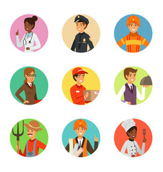 avatars set with different professions vector image vector image