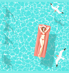 christmas woman on air mattress in the sea vector image