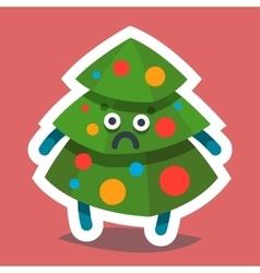 Emoticon Icon Happy New Year Fir Tree vector image