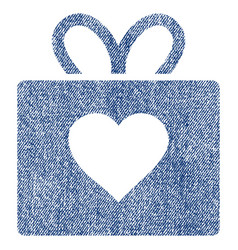 love gift fabric textured icon vector image