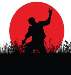 Man jump in nature silhouette vector