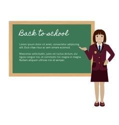 School girl presenting something on chalkboard vector image