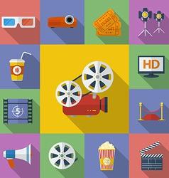 Set of Cinema Movie icons Flat style vector image