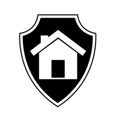 shield insurance with house isolated icon vector image