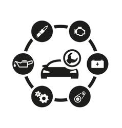 black car service icon set vector image