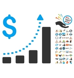 Business bar chart positive trend icon with 2017 vector