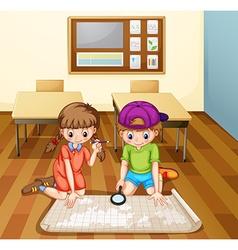 Children reading map in classroom vector image