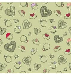 Diamond rings heart patterns vector image vector image