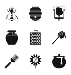 Honey icons set simple style vector
