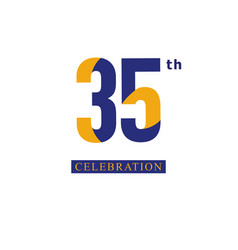 35 th anniversary celebration orange blue vector image
