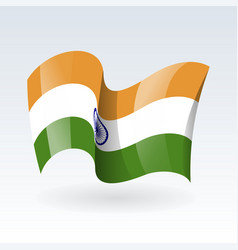 3d waving flag india isolated on white vector image