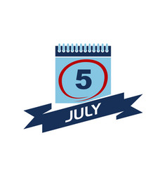 5 july calendar with ribbon vector
