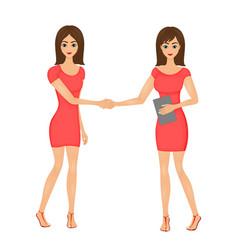 a handshake of two cute cartoon vector image