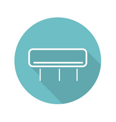 Air conditioner flat linear long shadow icon vector