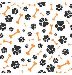 Animal paw steps seamless pattern pet vector