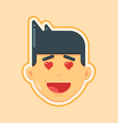 avatar icon of love heart face man vector image