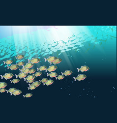 background school of fish in a river of vector image