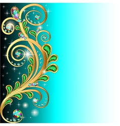background with precious stones and gold ornaments vector image